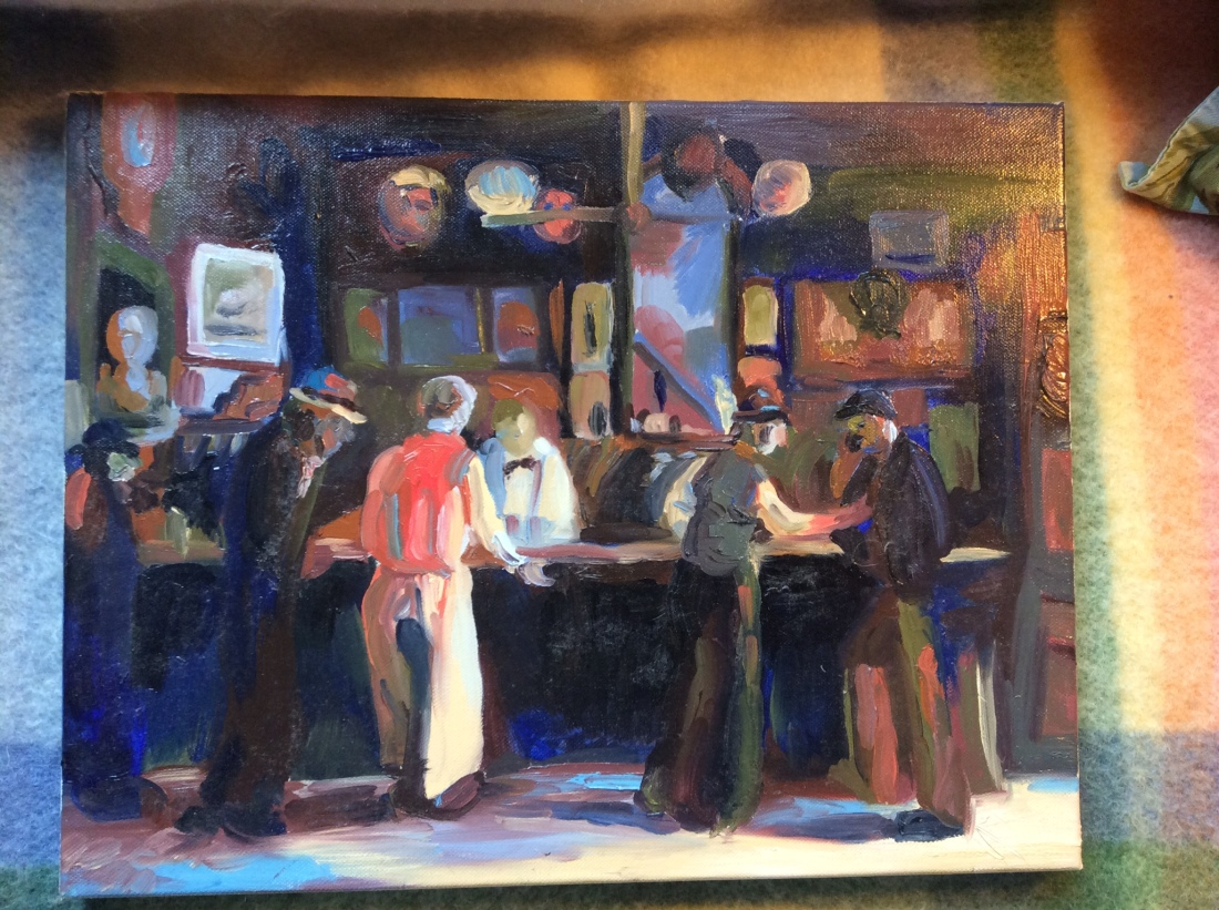 2-hr reproduction of an Ashcan School painting, using only 3 colors of paint, Oil, 2006